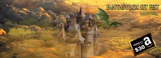 June Books Fantasy Box Set Fest June Books 2021 - With a picture of a green dragon escaping a castle wreathed with so much cloud and smoke that the only conclusion I can come to is that it's being attacked by a mad scientist about to take over the world.