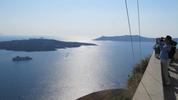 On the Cliffs at Santorini