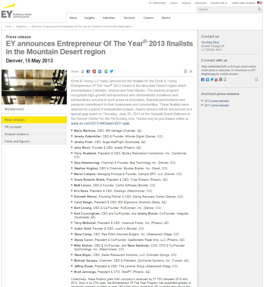 2013 Entrepreneur of the year Ernst and Young