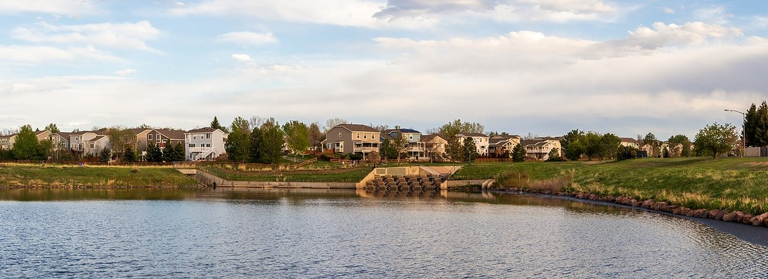 Scenic landscape along the neighborhood trail in the residential area at West Tall Gate Creek in Aurora, Colorado