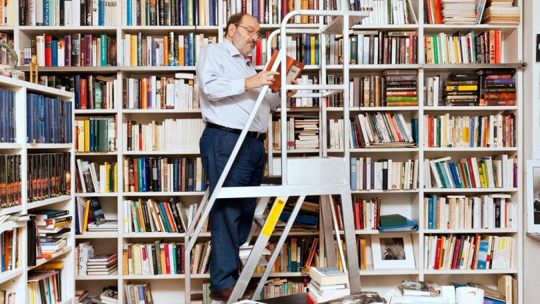 Umberto Eco in his home library