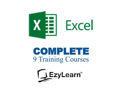 EzyLearn Microsoft Excel COMPLETE Online Training Courses, manuals, workbooks, video tutorials, tests Advanced Certificate