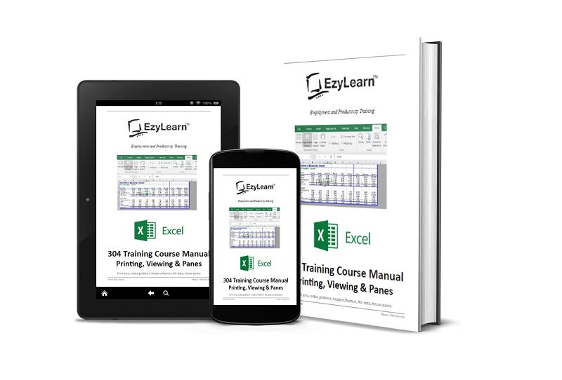 Microsoft Excel Intermediate Course 304 Training Manual & Workbook – Viewing & Printing