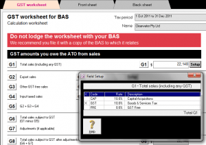 MYOB BAS GST Worksheet MYOB Accountright Plus training course and support
