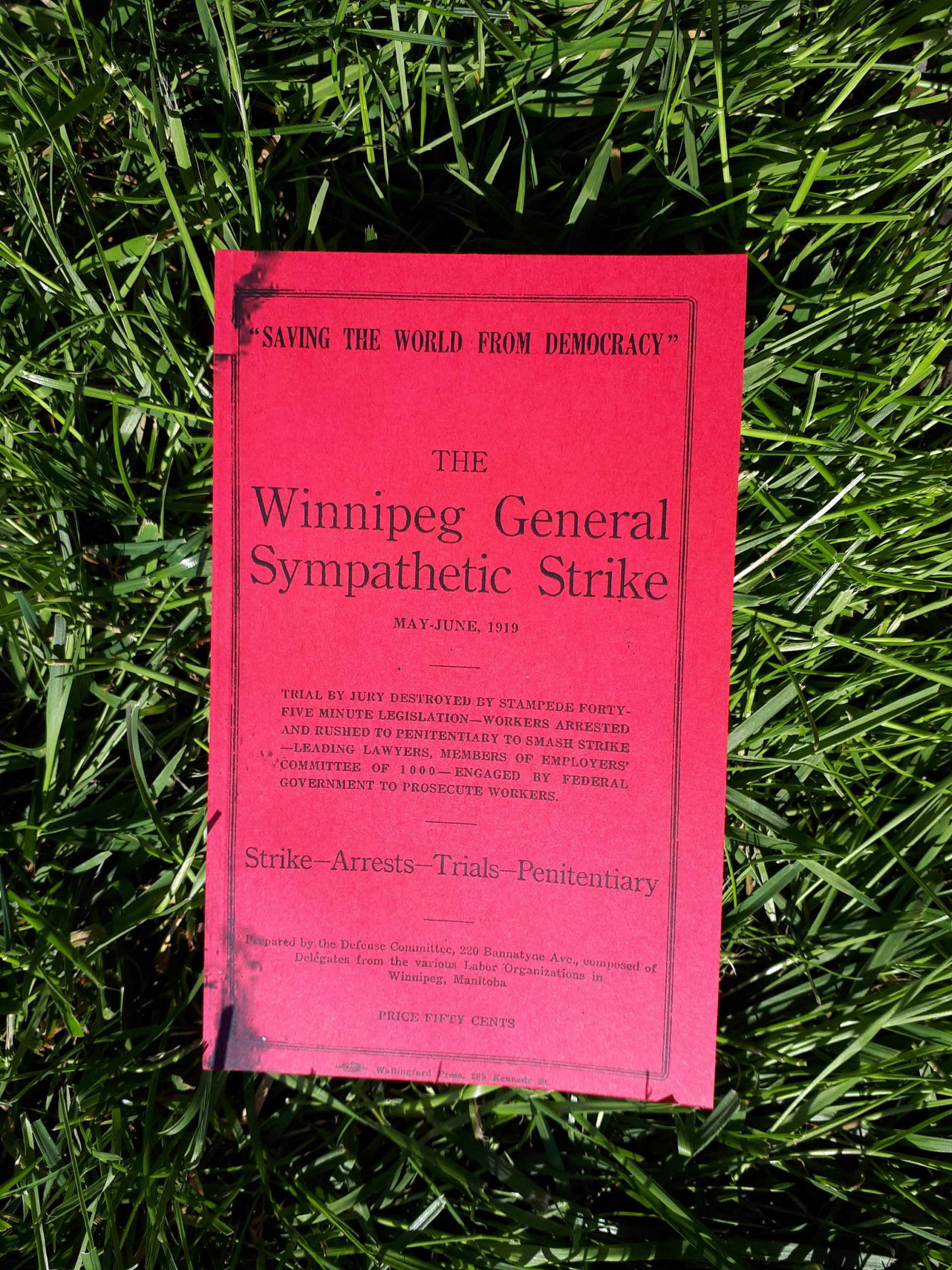 "A book with bright read covers laying on a surface of vibrant green grass. The cover reads in part ""'Saving the World from Democracy', The Winnipeg General Sympathetic Strike"""