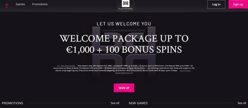 Интерфейс казино PlayGrand