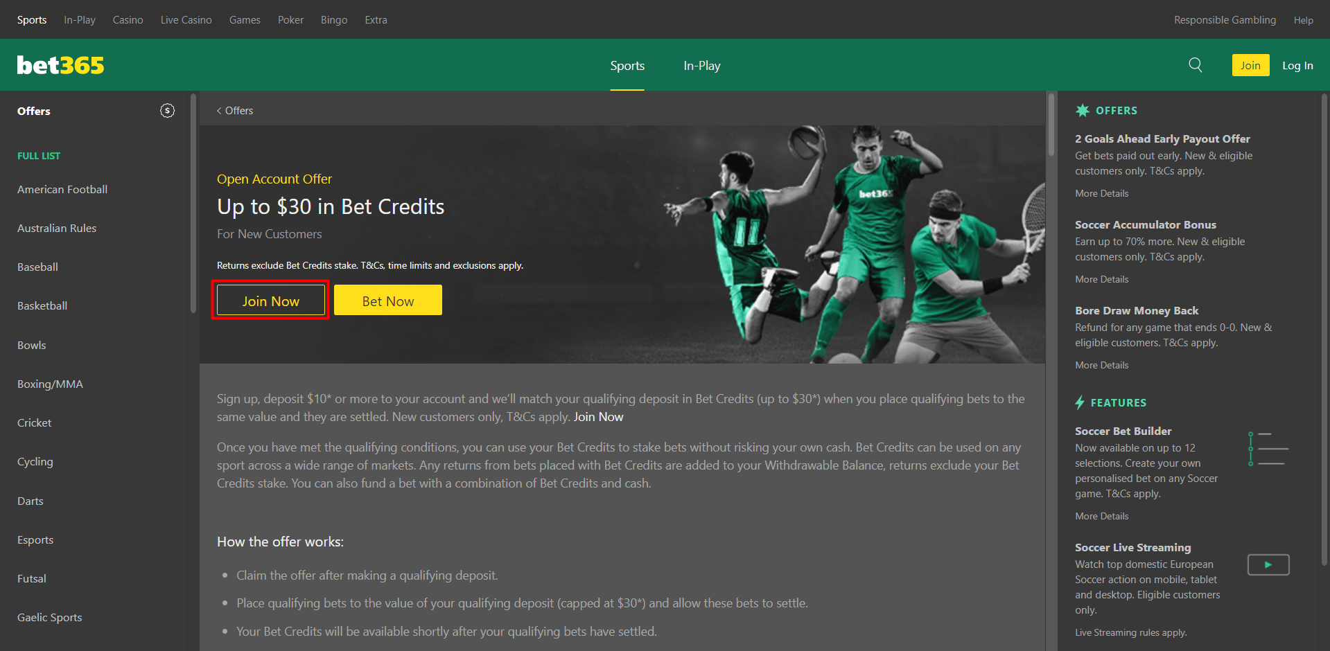 Screenshot of welcome offer and free bet from Bet365 bookmaker