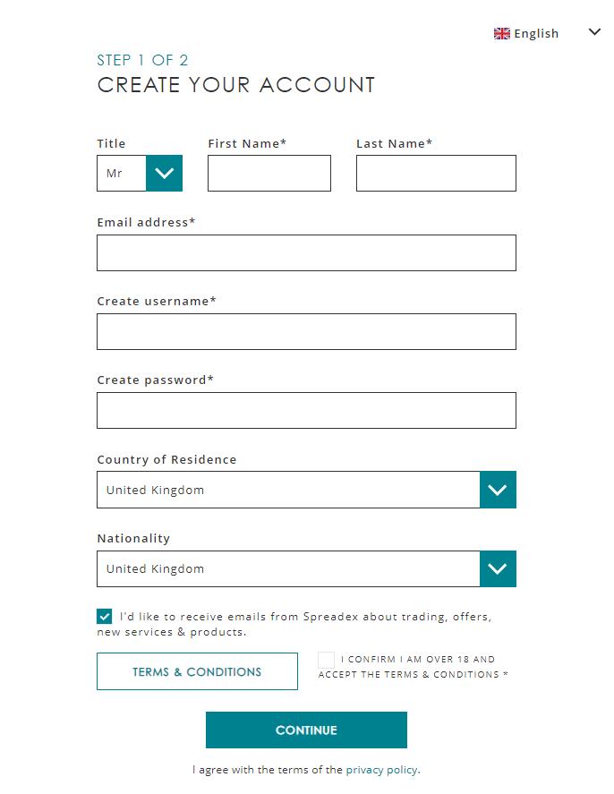 registration spreadex