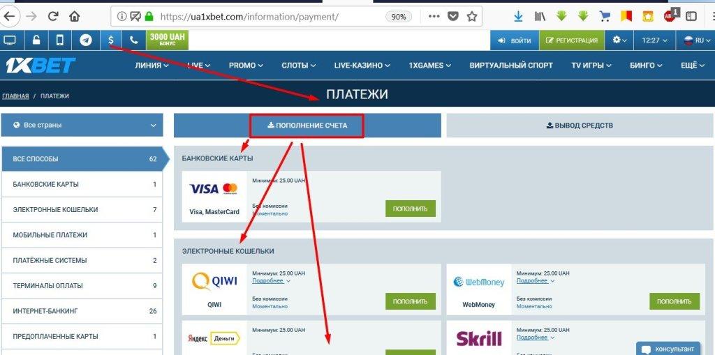 Пополнение счета при помощи банковской карты на сайте 1xBet