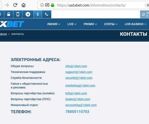 Электронные адреса службы поддержки 1xBet