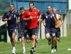 Футболисты 'Сток Сити' во время тренировки