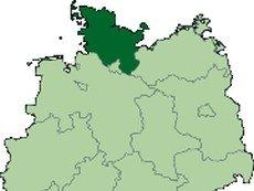 Федеральная земля Шлезвиг-Гольштейн на карте Германии