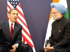 Барак Обама во время международных переговоров с представителем Индии
