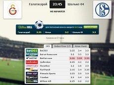 Сравнение коэффициентов на встречу «Галатасарай» – «Шальке-04» в матч-центре «Рейтинга Букмекеров»
