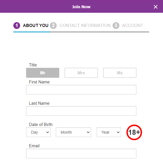 Форма регистрации на сайте БК Betdaq