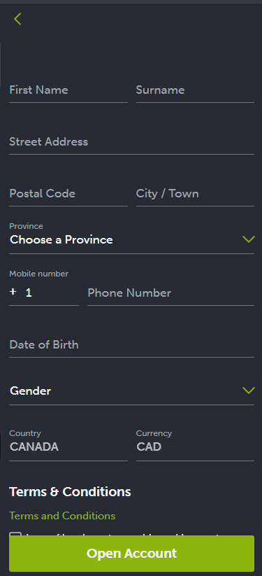 Форма регистрации на сайте БК Comeon