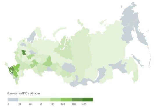 Тепловая карта ППС букмекеров по регионам России