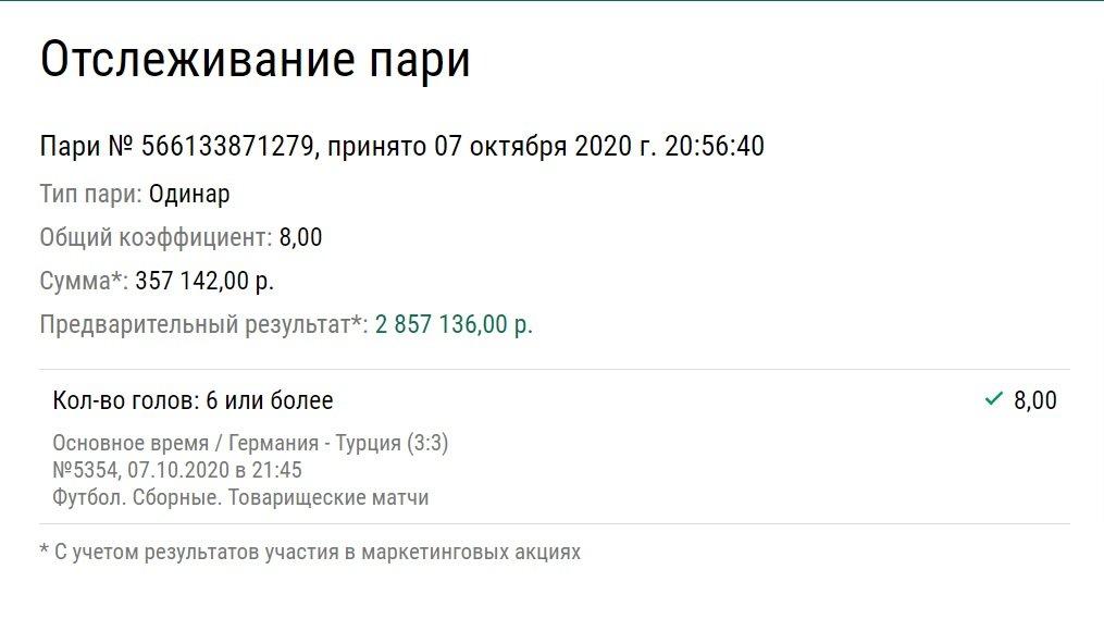 Игрок поставил на 6 голов Германии и Турции и заработал 2,8 миллиона рублей