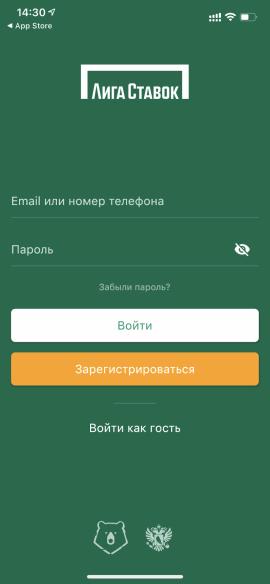 Начальный экран приложения Лига Ставок для iOS