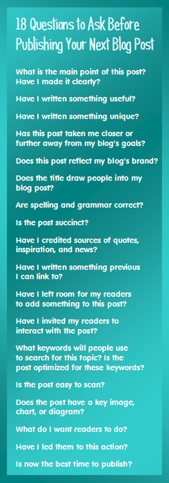 18 Questions to Ask before blogging