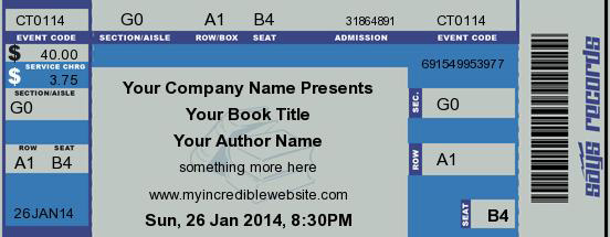 Concert Ticket for book marketing