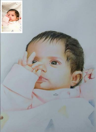 Baby portrait Painting baby first birthday gift
