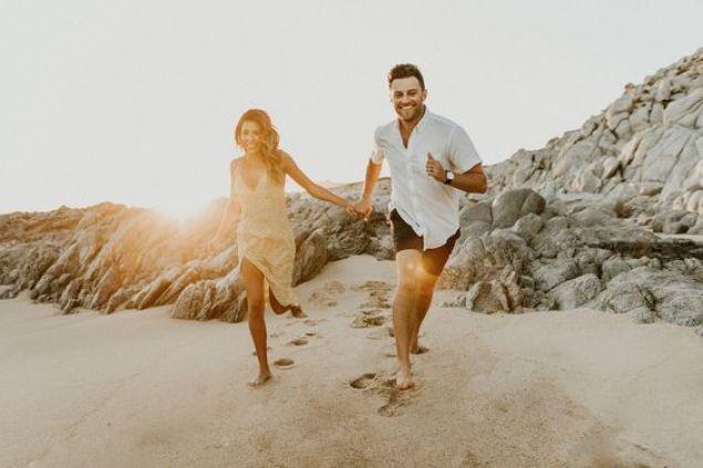 Couple portrait at beach