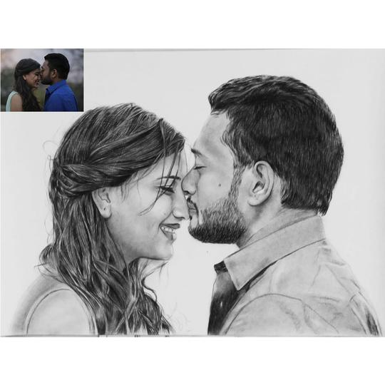 Romantic Charcoal Portrait for your Wife