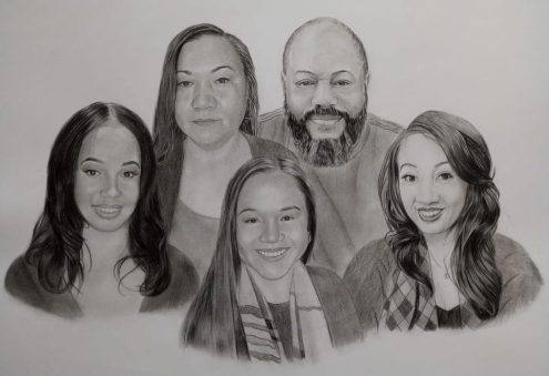 Charcoal Family Portrait