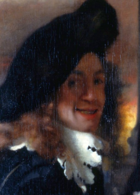 Detail of the painting The Procuress (c. 1656), believed to be a self portrait by Vermeer