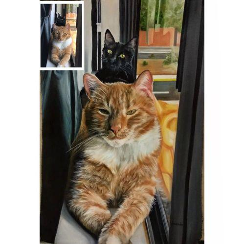 100% Handmade Cat Painting as Cat Loss Gift
