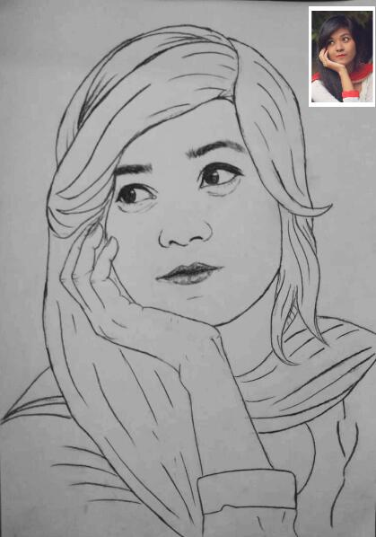 Line Art Drawing Photo To Painting Custom Portrait Drawing Sketch Artist