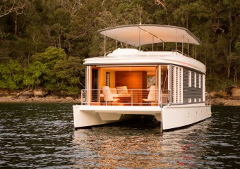 The Mothership Solar Powered Houseboat by Mothership Marine