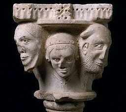 Romanesque Capital with Supporting Heads