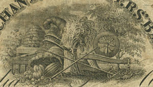 Detail of a three dollar bill issued by Merchants & Planters Bank.