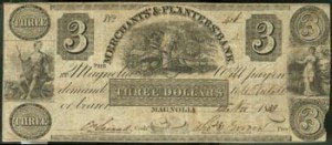 Three dollar bill issued by Merchants & Planters Bank.
