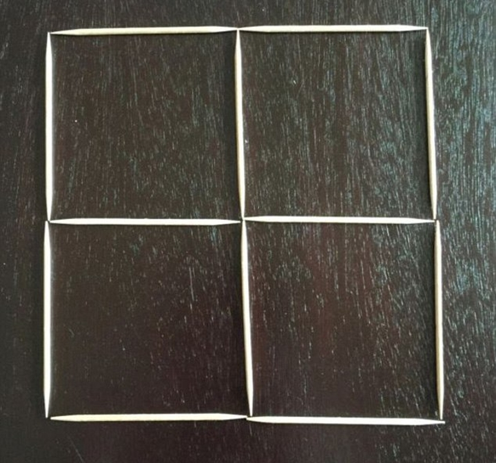 4 squares with 12-toothpicks