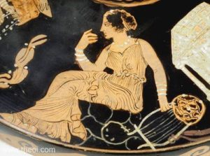 Muse with barbiton, Paestan red-figure lekanis C4th B.C., Musée du Louvre