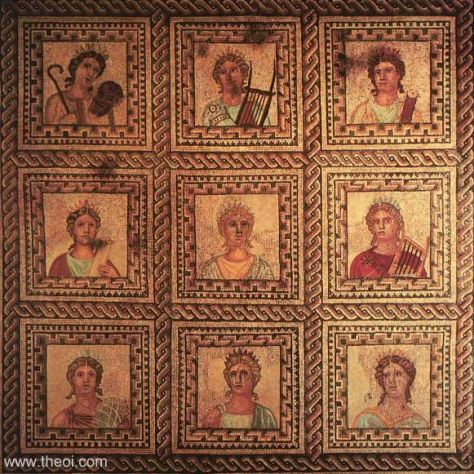 Portraits of the nine Muses | Greco-Roman mosaic from Neustrasse C3rd-4th A.D. | Rheinisches Landesmuseum Trier