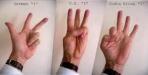 three countries using three fingers