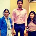 Bookosmia Founders Nidhi Mishra and Archana Mohan with cricket legend Venkatesh Prasad