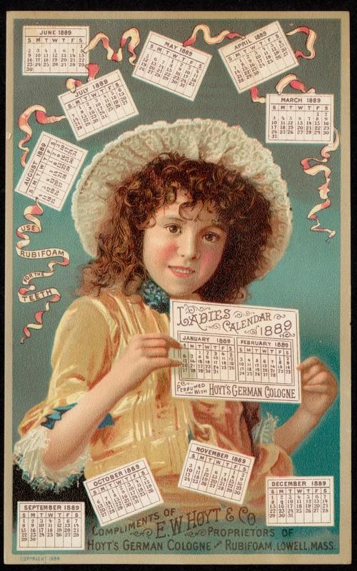 Calendars Ladies Calendar 1889 Hoyt's German Cologne