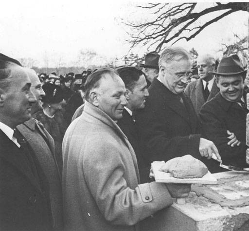 Roosevelt laying cornerstone
