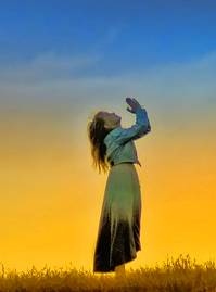 Praying Woman with Sunset Free Use - Copy