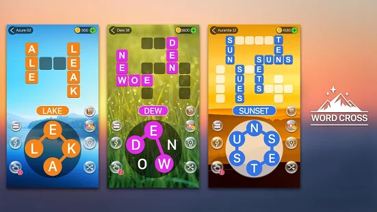 A screencap of an ad for the Crossword Quest word game showing various boards