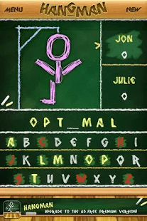 A screencap of the Hangman game, showing a game in progress
