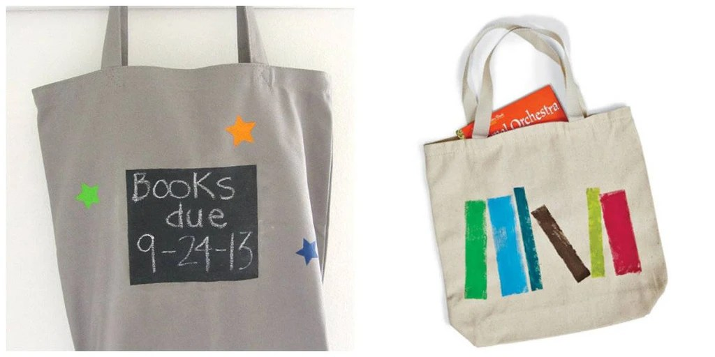 photo of book tote with a chalkboard paint square to write on