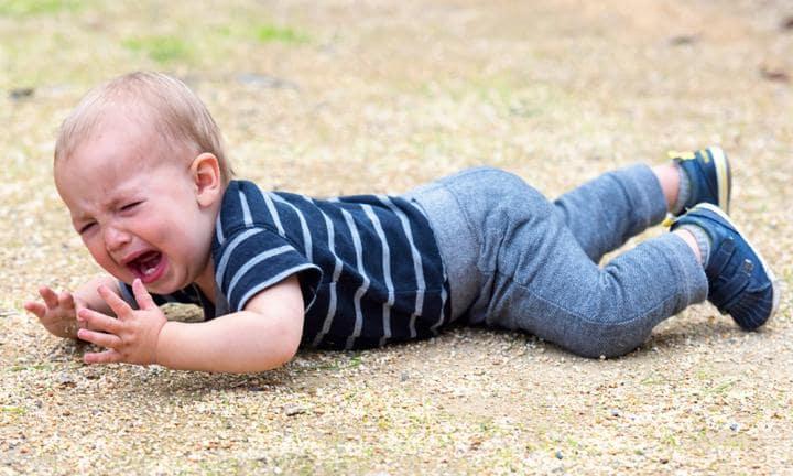 child throws a tantrum