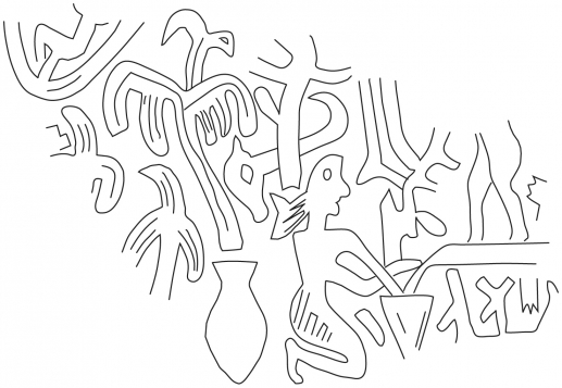 Fig.16–Drawing of fragmentary ancient impression of a cylinder seal impression.