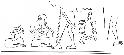 Fig.21–Drawing of fragmentary ancient impression of a cylinder seal impression.